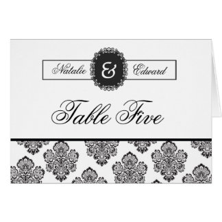Table Number Cards Black & White Damask