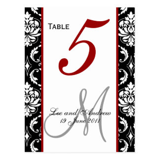 Table Number Cards Damask Red Postcard