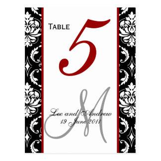 Table Number Cards Damask Red Postcard