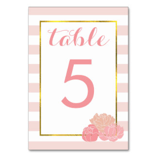 Table Number Cards | Pink Stripe & Blush Peony