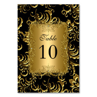 Table Number Cards Royal Black Gold Table Card