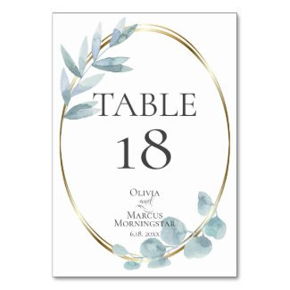 TABLE NUMBER | Dusty Blue Watercolor Eucalyptus