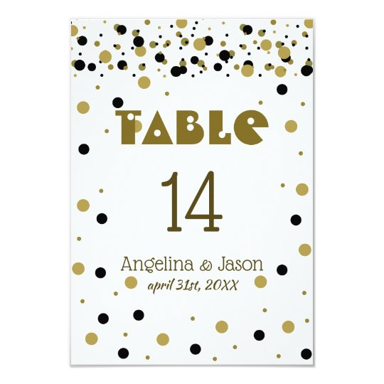 Table Number Golden Black Dots Stylish Confetti
