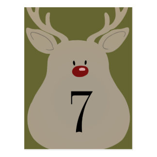 Table Number Goofy Reindeer Postcard