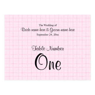 Table Number in Pale Pink Check and Black Text. Postcards