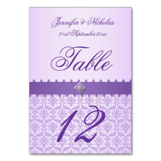 Table Number Lilac Damask & Purple Ribbon Table Cards