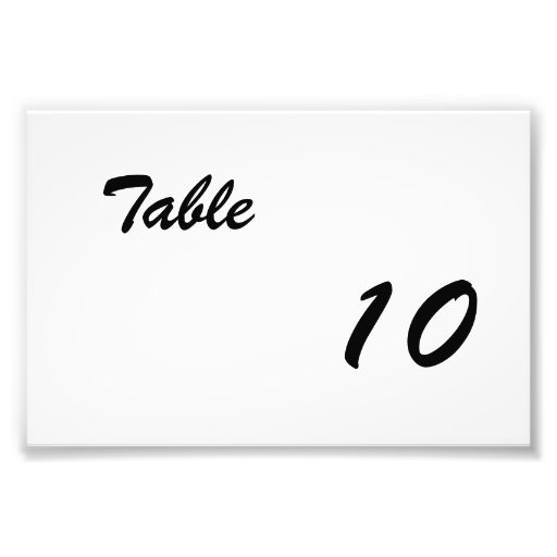 Table Number Art Photo