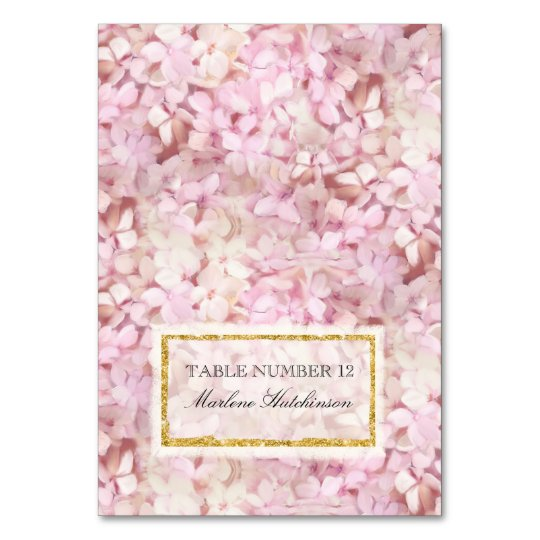 Table Number Place Card Pink Hydrangeas Gold Faux Table Card