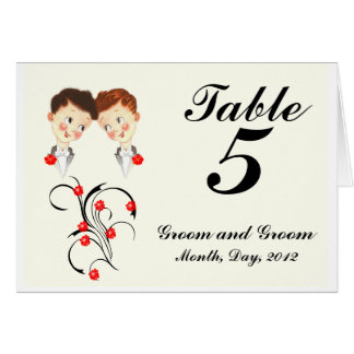 Table Number Postcard Tent Cute Two Grooms Gay Wed