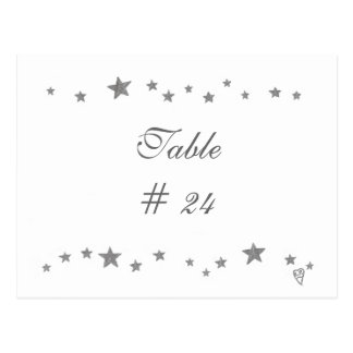 Table Number Postcards, silver stars border Postcard