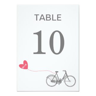 "Table number romantic bike with initials 5"" x 7"" invitation card"