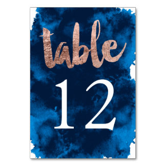 Table Number rose gold typography watercolor