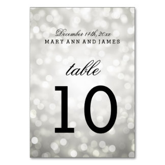 Table Number Silver Glitter Lights