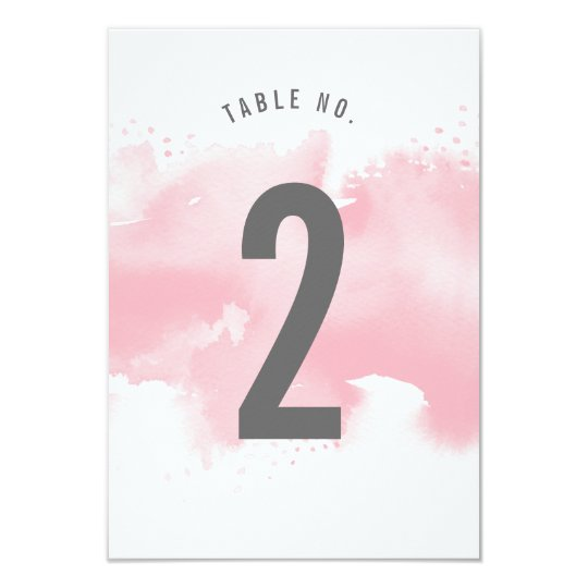 TABLE NUMBER stylish watercolor blush pink grey Card