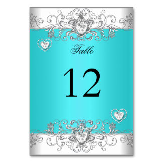 Table Number Teal Blue Wedding Silver Diamond Table Cards