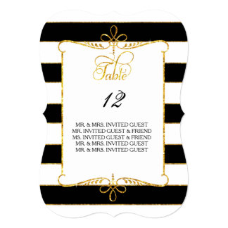 """Table Number w Guest Names Gold Striped Script 5"""" X 7"""" Invitation Card"""