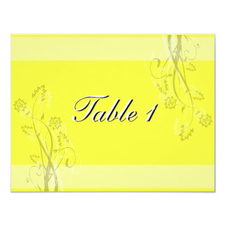 "Table Number Wedding Card - Black and White Floral 4.25"" X 5.5"" Invitation Card"