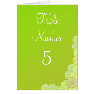 Table Number & Wedding Menu Simple Green Flowers