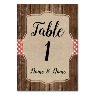 Table Number Wedding Red Gingham Burlap BBQ