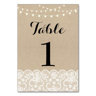 Table Number Wedding Rustic Burlap Lights Lace