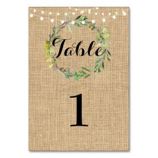 Table Number Wedding Rustic Floral Burlap Wreath