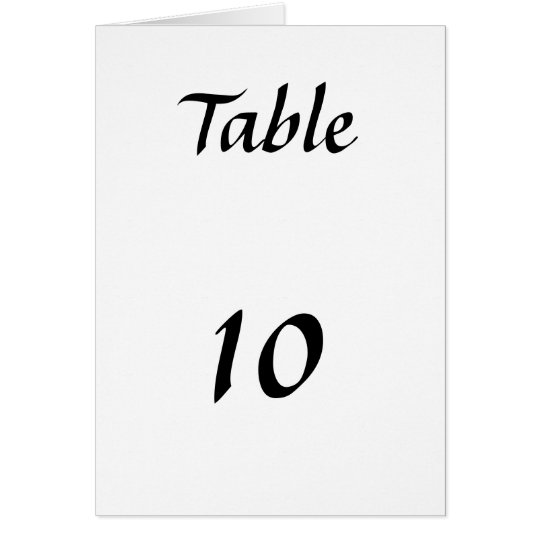 Table Numbers Card