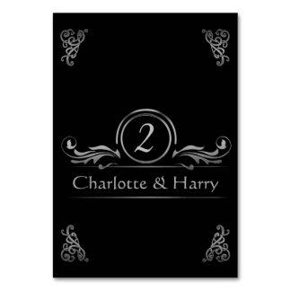 Table Numbers Card | Elegant Wedding Silver Black Table Card