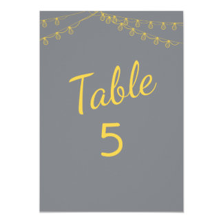 Table Numbers in Yellow and Gray with Lights Card