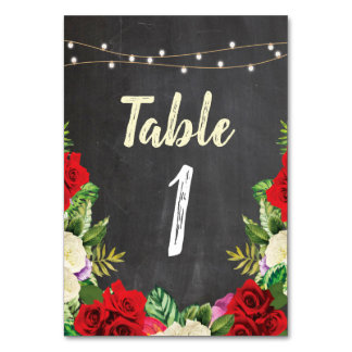 Table Numbers Wedding Red Roses Rustic Chalk Cards