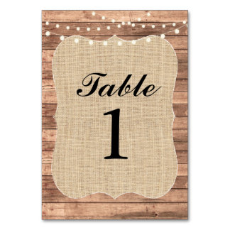 Table Numbers Wedding Wood BBQ Rustic Burlap Card