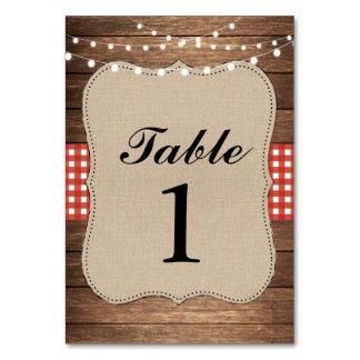 Table Numbers Wedding Wood Red Rustic Burlap Cards