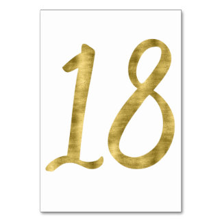 Table Numbers With Gold Foil Effect Number 18 Table Cards