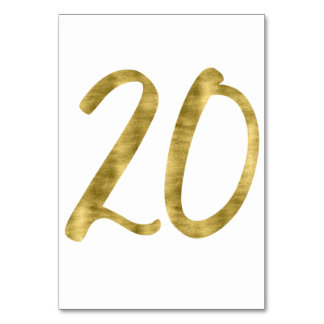 Table Numbers With Gold Foil Effect Number 20 Table Cards