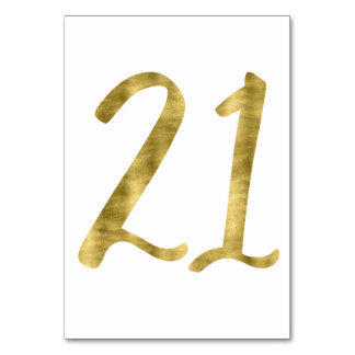 Table Numbers With Gold Foil Effect Number 21 Table Cards