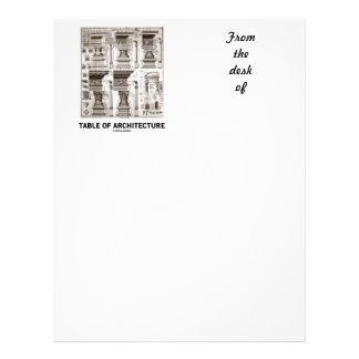 Table Of Architecture (Different Column Forms) Personalized Letterhead