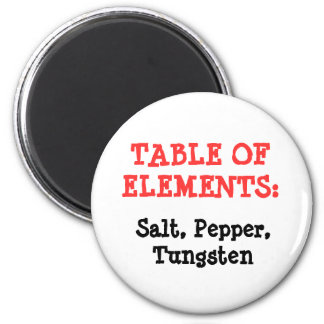 TABLE OF ELEMENTS:, Salt, Pepper, Tungsten Refrigerator Magnets