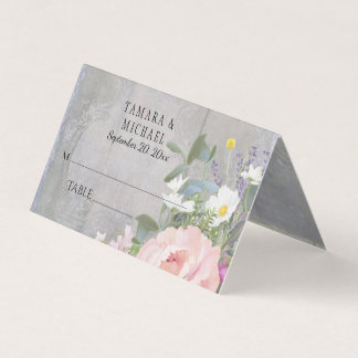 Table Place Card Rustic Grey Wood Floral Vintage