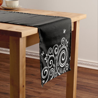 Table Runner-Black Swirl Short Table Runner