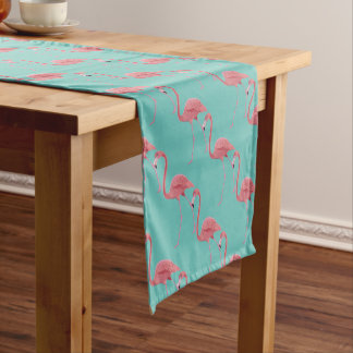 Table Runner-Tropical Pink Flamingo Bird Short Table Runner