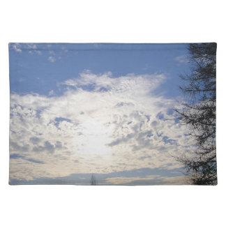 Table set fair weather clouds placemats