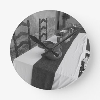 Table settings for a medieval style banquet round clock