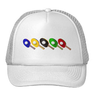 Table Tennis Bat and Ping Pong Ball Sports Trucker Hat