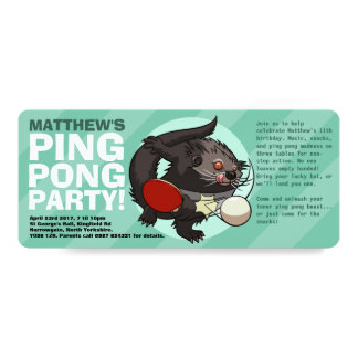 Table Tennis Bearcat Ping Pong Binturong Cartoon Card