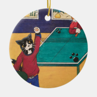Table Tennis Ceramic Ornament