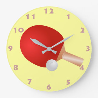 TABLE TENNIS PADDLE AND BALL (WITH NUMERALS) LARGE CLOCK