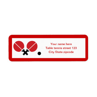 Table tennis ping-pong rackets and ball black, red return address label