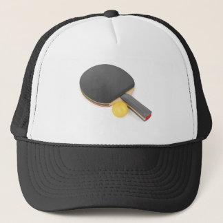 Table tennis racket and ball trucker hat