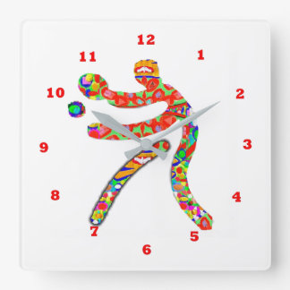 TABLE TENNIS Sports Square Wall Clock