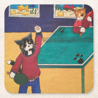 Table Tennis Square Paper Coaster