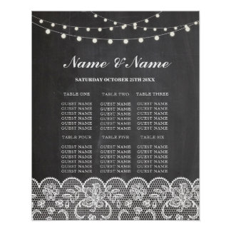 Table Wedding Rustic Lace & Chalk Poster Seating